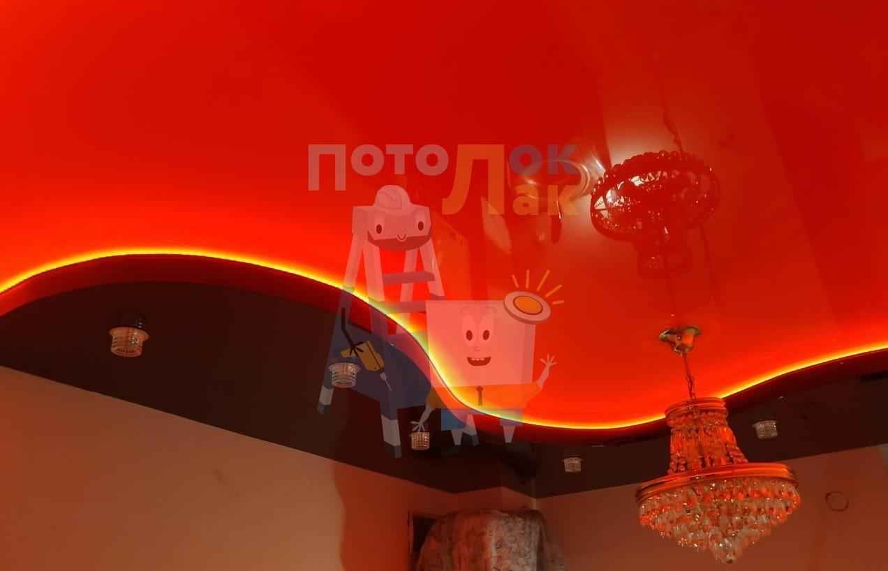 Натяжные потолки красные в Абакане фото 8